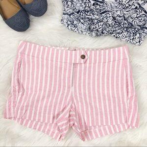 J. Crew Pink Striped Linen-Cotton Blend Shorts